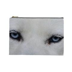 Akita Inu White Eyes Cosmetic Bag (Large)