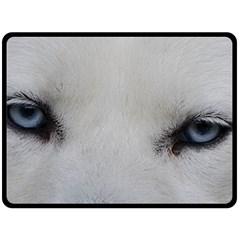 Akita Inu White Eyes Fleece Blanket (Large)
