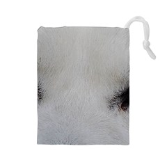 Akita Inu White Eyes Drawstring Pouches (Large)