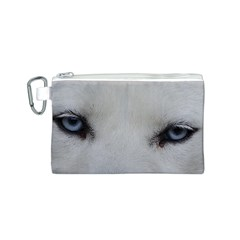Akita Inu White Eyes Canvas Cosmetic Bag (S)