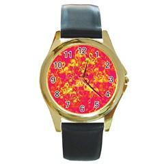 Flamingo pattern Round Gold Metal Watch