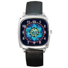 Abstract Mechanical Object Square Metal Watch
