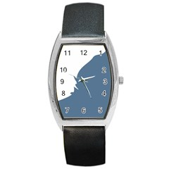 Blue White Hill Barrel Style Metal Watch