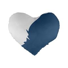 Blue White Hill Standard 16  Premium Heart Shape Cushions