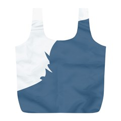 Blue White Hill Full Print Recycle Bags (L)