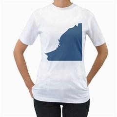 Blue White Hill Women s T-Shirt (White)