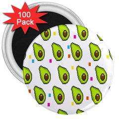 Avocado Seeds Green Fruit Plaid 3  Magnets (100 pack)
