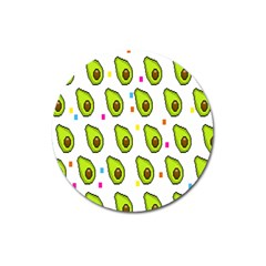 Avocado Seeds Green Fruit Plaid Magnet 3  (Round)