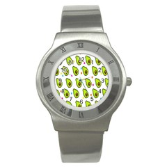 Avocado Seeds Green Fruit Plaid Stainless Steel Watch