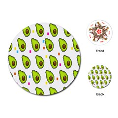 Avocado Seeds Green Fruit Plaid Playing Cards (round)