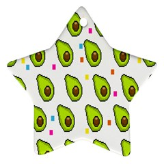 Avocado Seeds Green Fruit Plaid Star Ornament (two Sides)