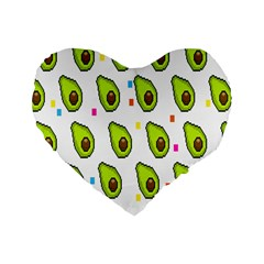 Avocado Seeds Green Fruit Plaid Standard 16  Premium Heart Shape Cushions