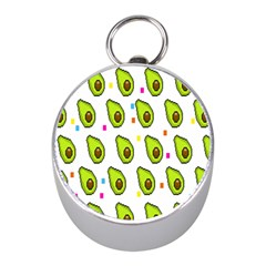 Avocado Seeds Green Fruit Plaid Mini Silver Compasses