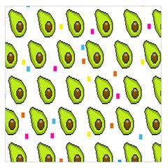 Avocado Seeds Green Fruit Plaid Large Satin Scarf (Square)