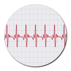 Cardiogram Vary Heart Rate Perform Line Red Plaid Wave Waves Chevron Round Mousepads