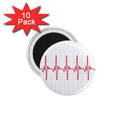 Cardiogram Vary Heart Rate Perform Line Red Plaid Wave Waves Chevron 1.75  Magnets (10 pack)