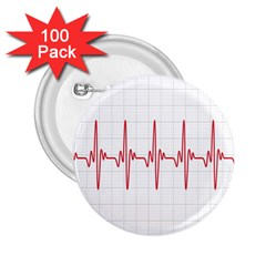 Cardiogram Vary Heart Rate Perform Line Red Plaid Wave Waves Chevron 2.25  Buttons (100 pack)