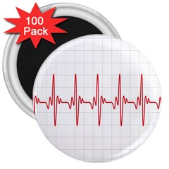 Cardiogram Vary Heart Rate Perform Line Red Plaid Wave Waves Chevron 3  Magnets (100 pack)
