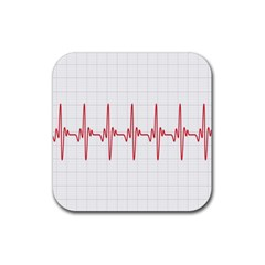 Cardiogram Vary Heart Rate Perform Line Red Plaid Wave Waves Chevron Rubber Coaster (Square)