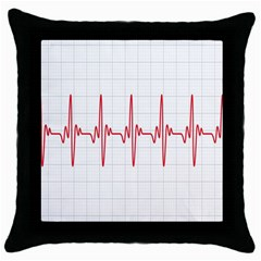 Cardiogram Vary Heart Rate Perform Line Red Plaid Wave Waves Chevron Throw Pillow Case (black)