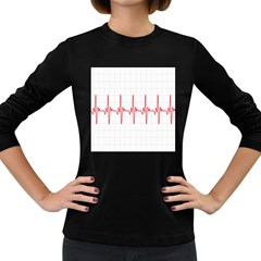 Cardiogram Vary Heart Rate Perform Line Red Plaid Wave Waves Chevron Women s Long Sleeve Dark T-Shirts