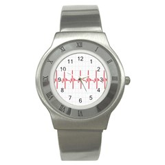 Cardiogram Vary Heart Rate Perform Line Red Plaid Wave Waves Chevron Stainless Steel Watch
