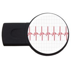 Cardiogram Vary Heart Rate Perform Line Red Plaid Wave Waves Chevron USB Flash Drive Round (4 GB)