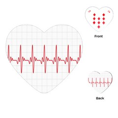Cardiogram Vary Heart Rate Perform Line Red Plaid Wave Waves Chevron Playing Cards (Heart)
