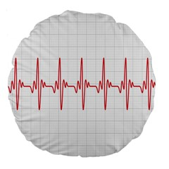 Cardiogram Vary Heart Rate Perform Line Red Plaid Wave Waves Chevron Large 18  Premium Flano Round Cushions