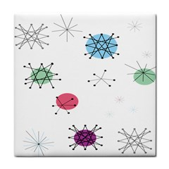 Atomic Starbursts Circle Line Polka Tile Coasters