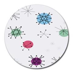 Atomic Starbursts Circle Line Polka Round Mousepads