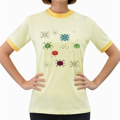 Atomic Starbursts Circle Line Polka Women s Fitted Ringer T-Shirts