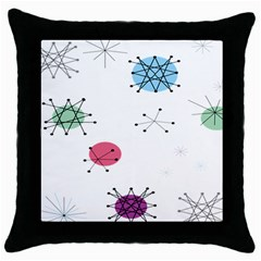 Atomic Starbursts Circle Line Polka Throw Pillow Case (Black)