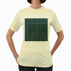 Boomarang Pattern Wave Waves Chevron Green Line Women s Yellow T-Shirt