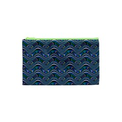 Boomarang Pattern Wave Waves Chevron Green Line Cosmetic Bag (XS)