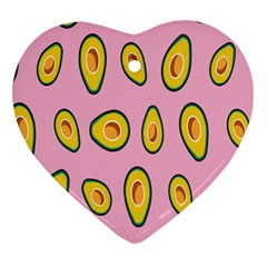 Fruit Avocado Green Pink Yellow Heart Ornament (Two Sides)