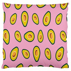 Fruit Avocado Green Pink Yellow Large Flano Cushion Case (One Side)