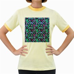 Circle Purple Green Wave Chevron Waves Women s Fitted Ringer T-Shirts