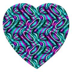 Circle Purple Green Wave Chevron Waves Jigsaw Puzzle (Heart)