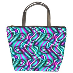 Circle Purple Green Wave Chevron Waves Bucket Bags