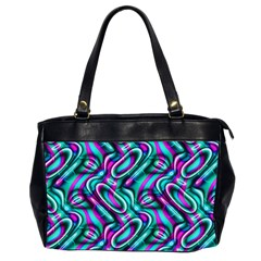 Circle Purple Green Wave Chevron Waves Office Handbags (2 Sides)