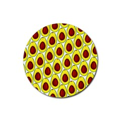 Avocados Seeds Yellow Brown Greeen Rubber Coaster (Round)