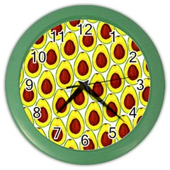 Avocados Seeds Yellow Brown Greeen Color Wall Clocks