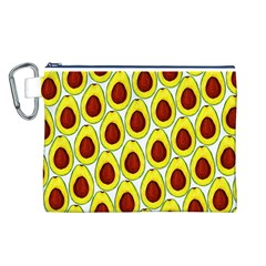 Avocados Seeds Yellow Brown Greeen Canvas Cosmetic Bag (L)