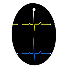 Heart Monitor Screens Pulse Trace Motion Black Blue Yellow Waves Ornament (Oval)