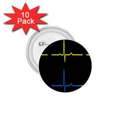 Heart Monitor Screens Pulse Trace Motion Black Blue Yellow Waves 1.75  Buttons (10 pack)