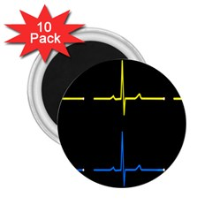 Heart Monitor Screens Pulse Trace Motion Black Blue Yellow Waves 2.25  Magnets (10 pack)
