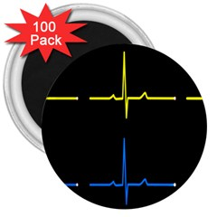 Heart Monitor Screens Pulse Trace Motion Black Blue Yellow Waves 3  Magnets (100 pack)
