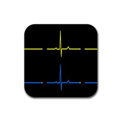 Heart Monitor Screens Pulse Trace Motion Black Blue Yellow Waves Rubber Coaster (Square)