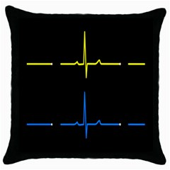 Heart Monitor Screens Pulse Trace Motion Black Blue Yellow Waves Throw Pillow Case (Black)